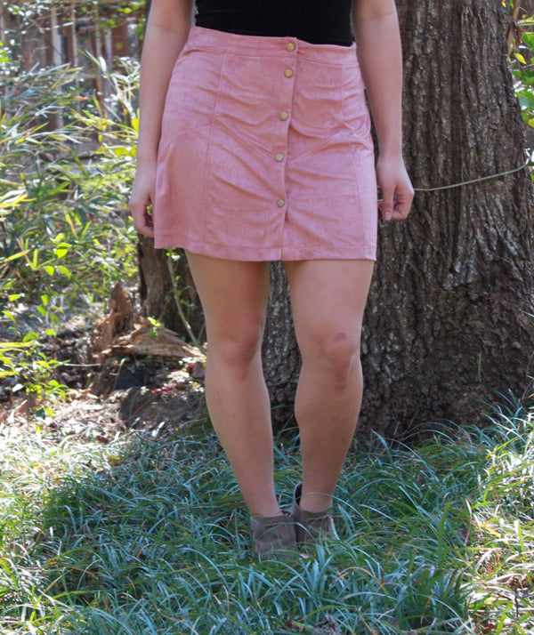 Layla Suede Button Up Skirt