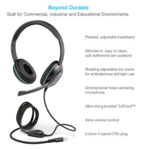 Headset - Cyber Acoustic AC-5002 Headset - OVER EAR - 3.5MM - WITH MIC