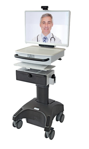 MDrT LCD Powered Clinic Webcam Cart w/ Stethoscope, Otoscope, ExamCam - Call for Quote