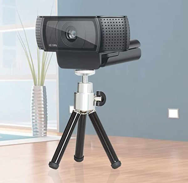 Lightweight Mini Webcam Tripod for Logitech Webcam C920 C922 Small Camera Tripod Mount (Black) - Also works with Firefly DE605 Exam Camera fitted with Adapter