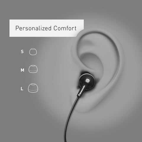 Panasonic ErgoFit In-Ear Earbud Headphones RP-HJE120-K (Black) NO MICROPHONE Dynamic Crystal Clear Sound, Ergonomic Comfort-Fit