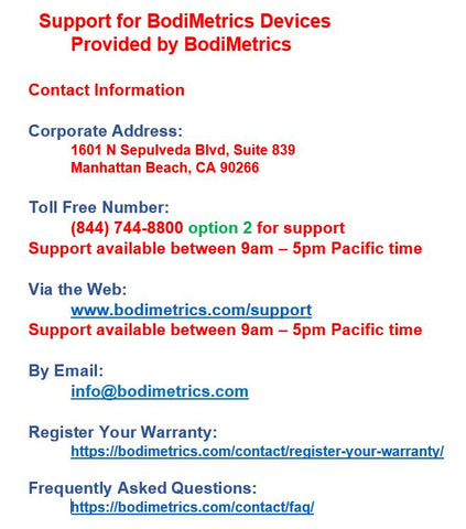 BodiMetrics Monitors - Features Comparison Chart - Free Download
