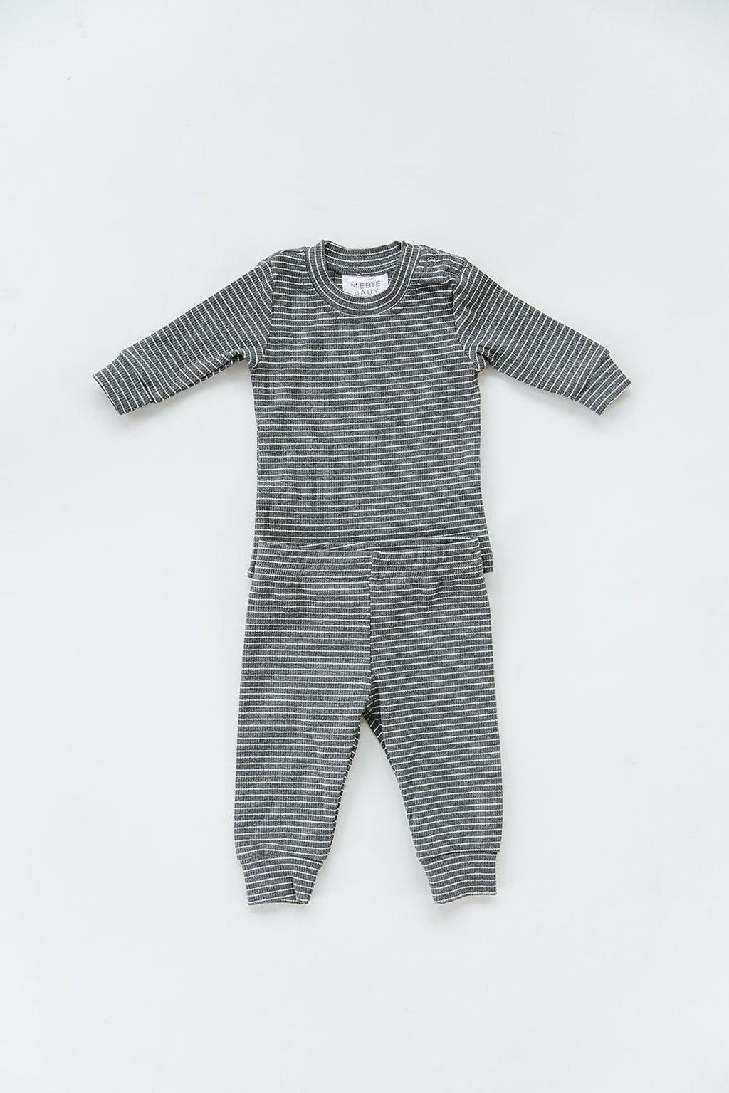 Grey & White Striped Ribbed Two-piece Cozy Set