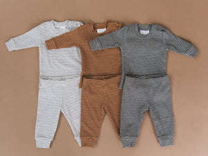 Rust & White Striped Ribbed Two-piece Cozy Set