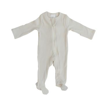 Vanilla Organic Cotton Ribbed Footed Zipper One-piece