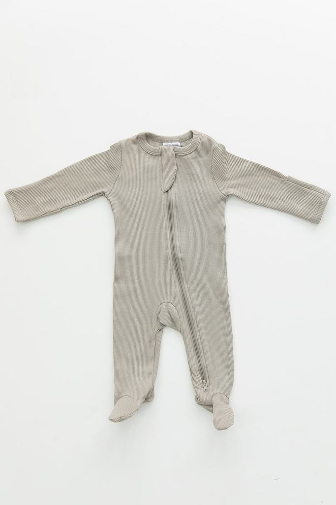 Sagebrush Organic Cotton Ribbed Footed Zipper One-piece