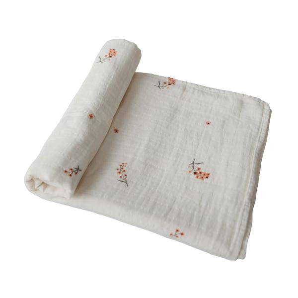 Muslin Swaddle Blanket | 100% Organic Cotton (Flowers)