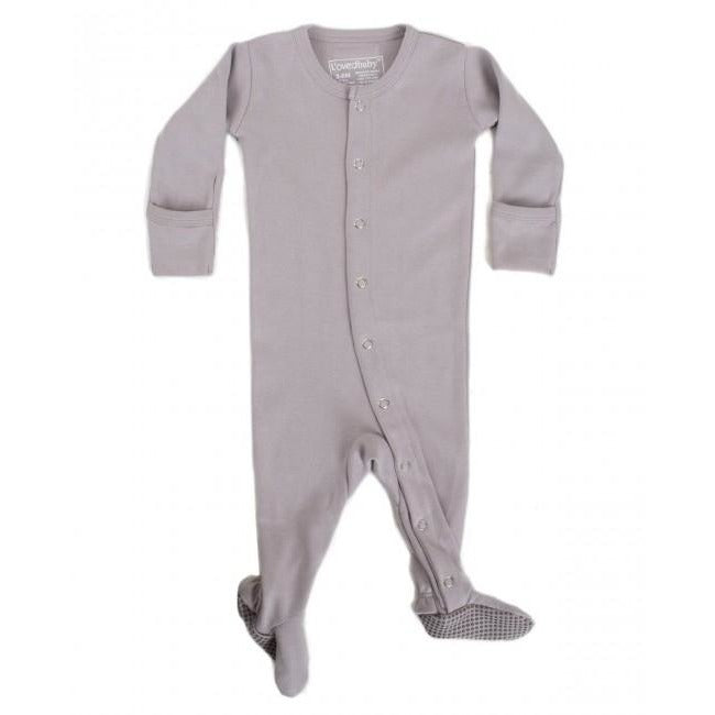Footed Organic Sleeper- Light Grey - Boutique Wanderlust
