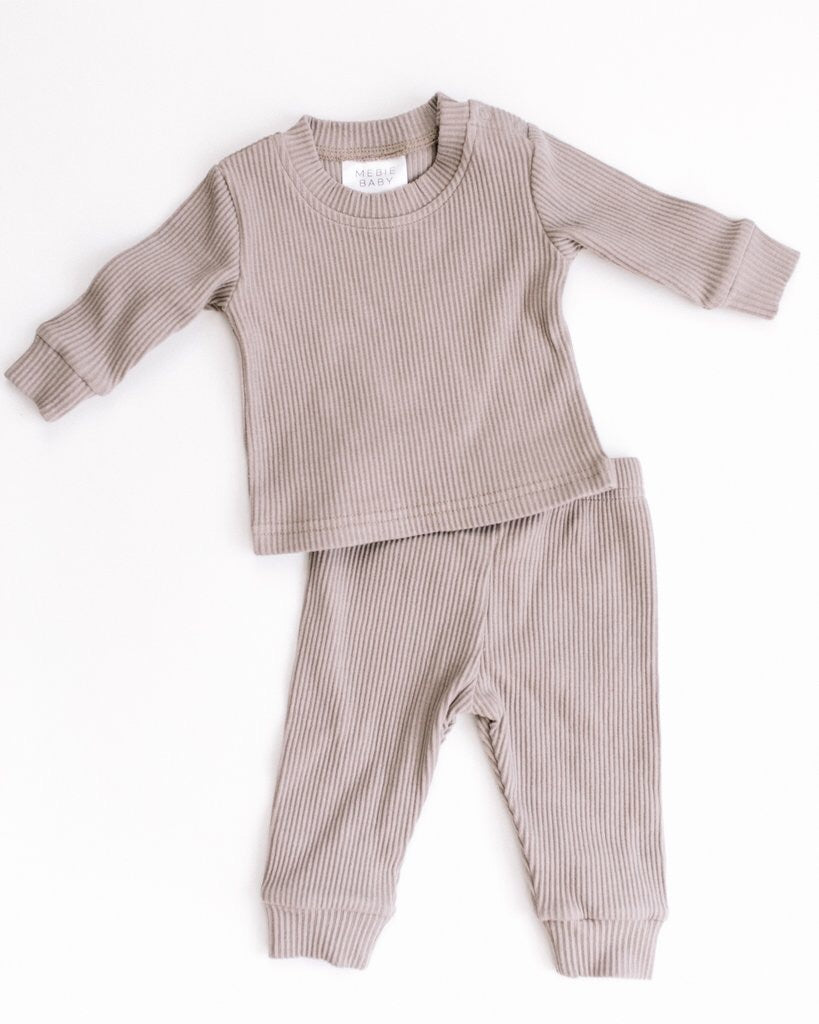 Taupe Ribbed Two Piece Cosy Set