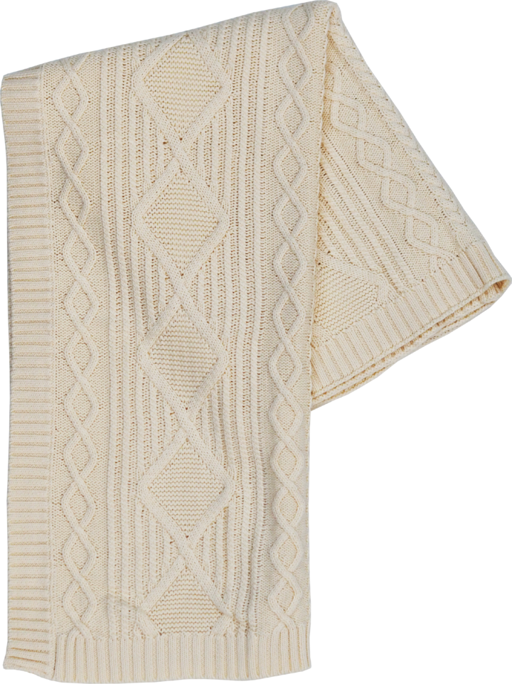 Organic Cable Knit Baby Blanket - Milk