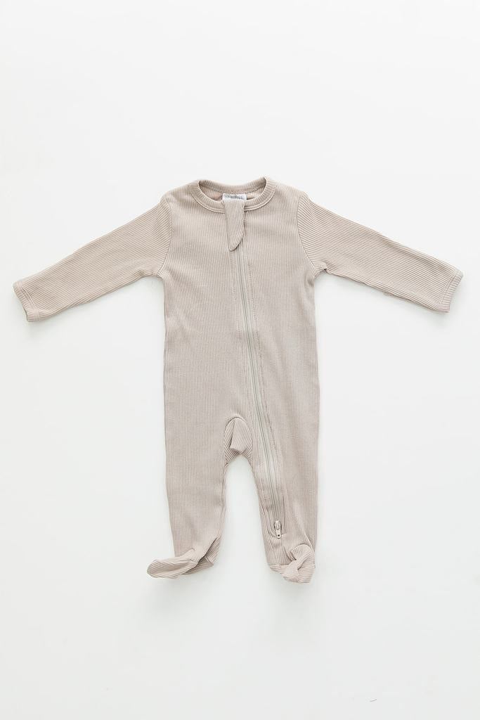 Oatmeal Cotton Ribbed Footed Zipper One-piece
