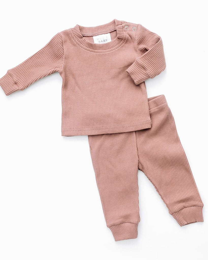 Blush Ribbed Two Piece Cosy Set
