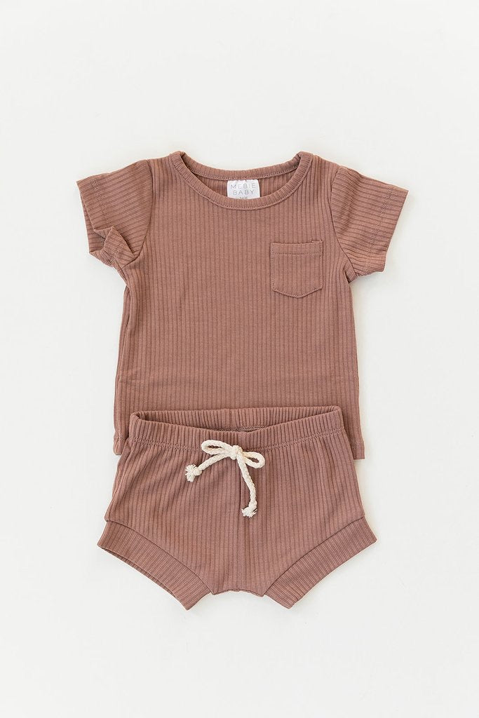 Dusty Pink Ribbed Pocket Tee + Short Set