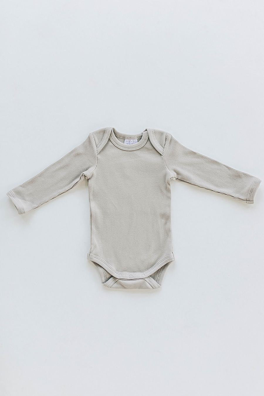 Oatmeal Organic Cotton Long Sleeve Ribbed Bodysuit