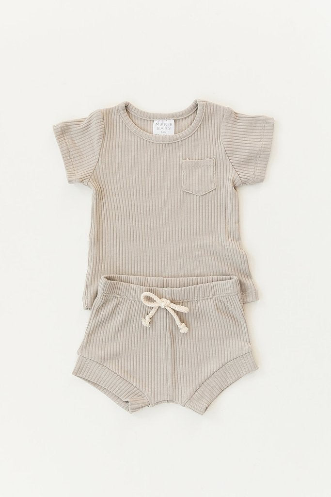 Oatmeal Ribbed Pocket Tee + Short Set