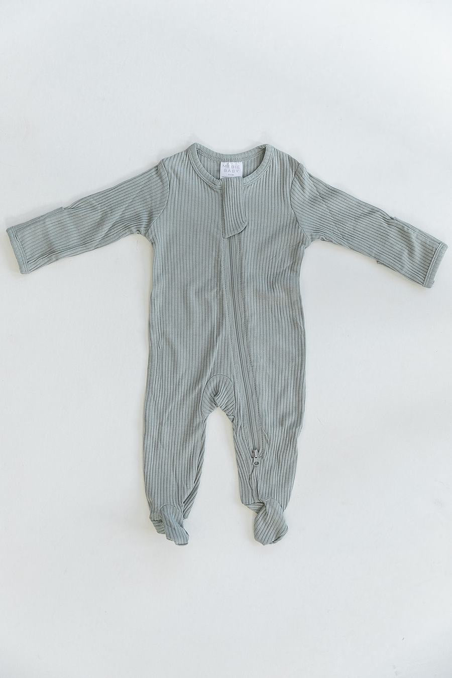 Sage Cotton Ribbed Footed Zipper One-piece