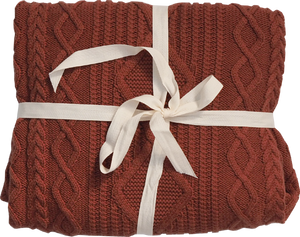 Organic Cable Knit Baby Blanket - Ketchup