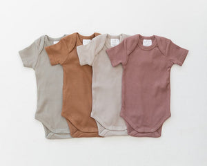 Oatmeal Organic Cotton Ribbed Bodysuit