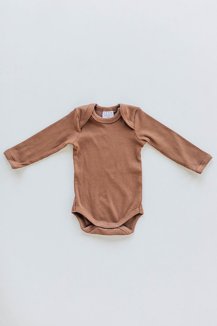 Rust Organic Cotton Long Sleeve Ribbed Bodysuit
