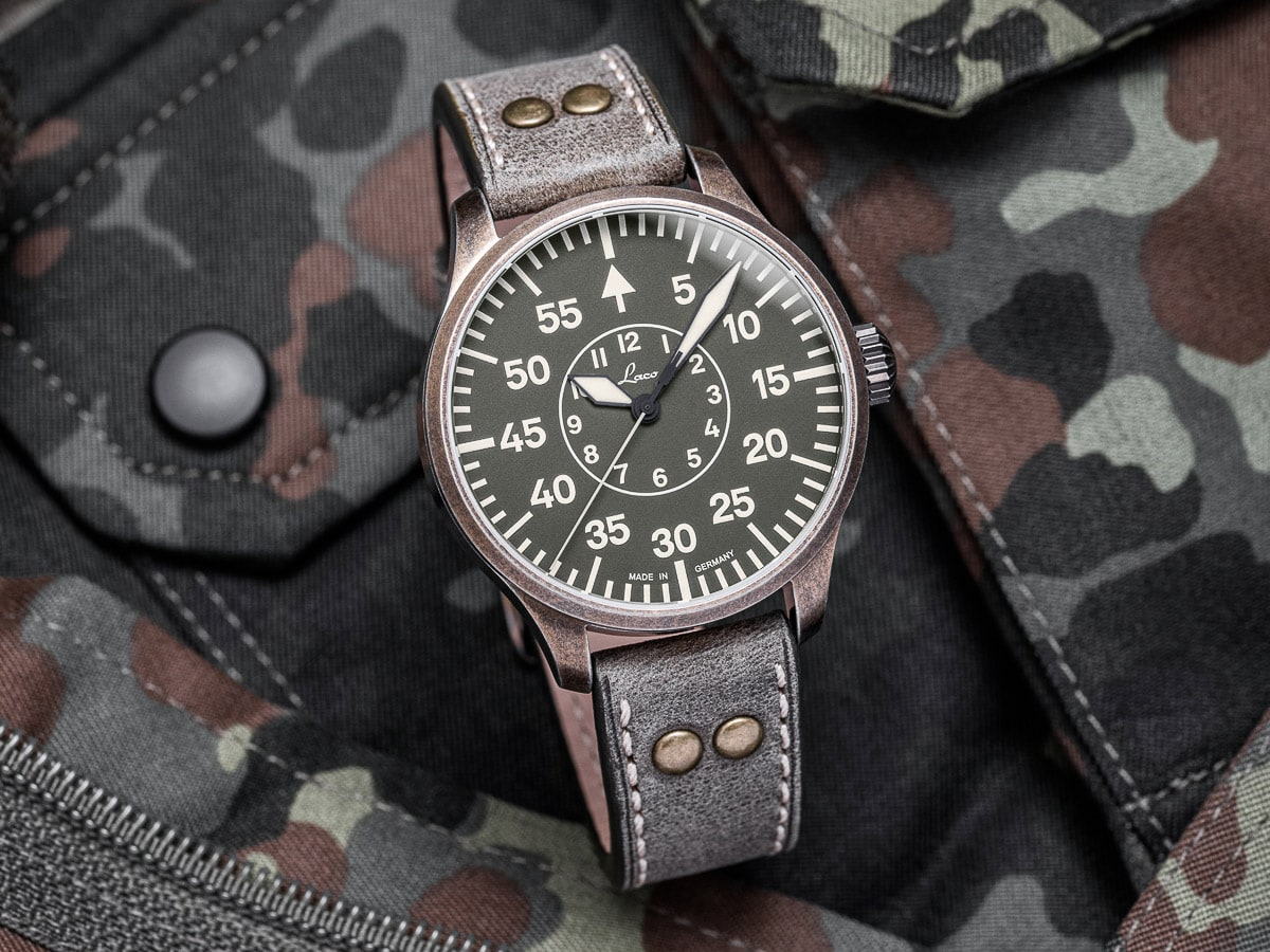 Laco Flieger - Aachen Oliv Limited Edition 42MM - Watchus