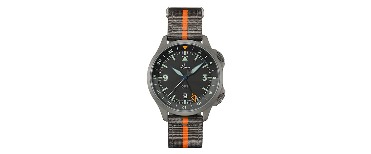 Laco Special Flieger - Frankfurt GMT Sort 43MM Automatisk - Watchus