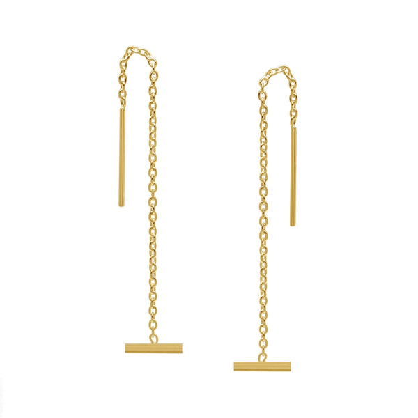 Bar Ear Threader Earrings I Gold