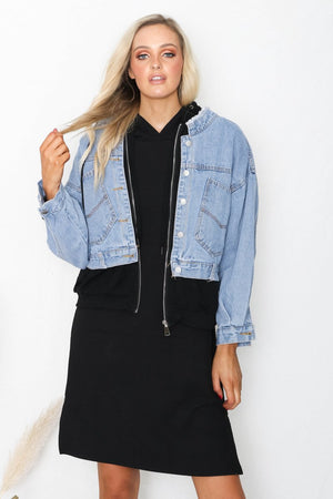 Denim Hooded Jacket I Black