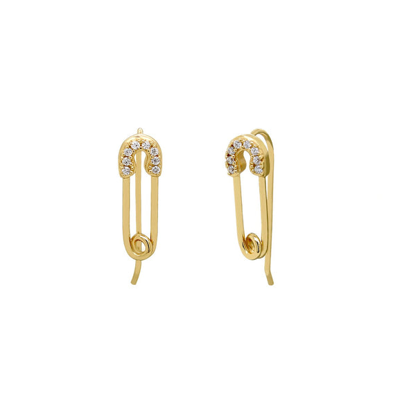 Luxe Pave Safety Pin Ear Climbers