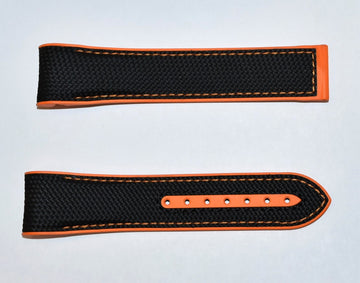 Omega Seamaster 22mm Black / Orange Rubber Watch Band - WATCHBAND EXPERT
