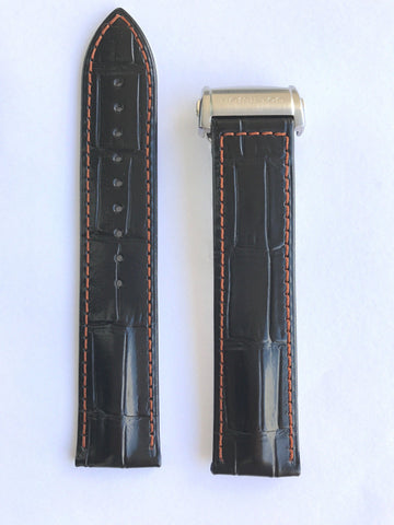 Hamilton RailRoad Black Leather 22mm Strap Band for H40656731, H40655731 - WATCHBAND EXPERT