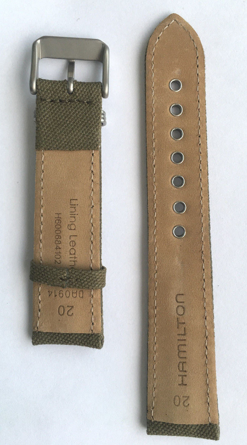 Hamilton Khaki Field Green Canvas 20mm Band Strap for H69419363, H69419933 - WATCHBAND EXPERT