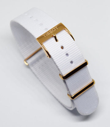 Tissot Quickster Nato White Nylon Strap for T095410A or T095417A - WATCHBAND EXPERT