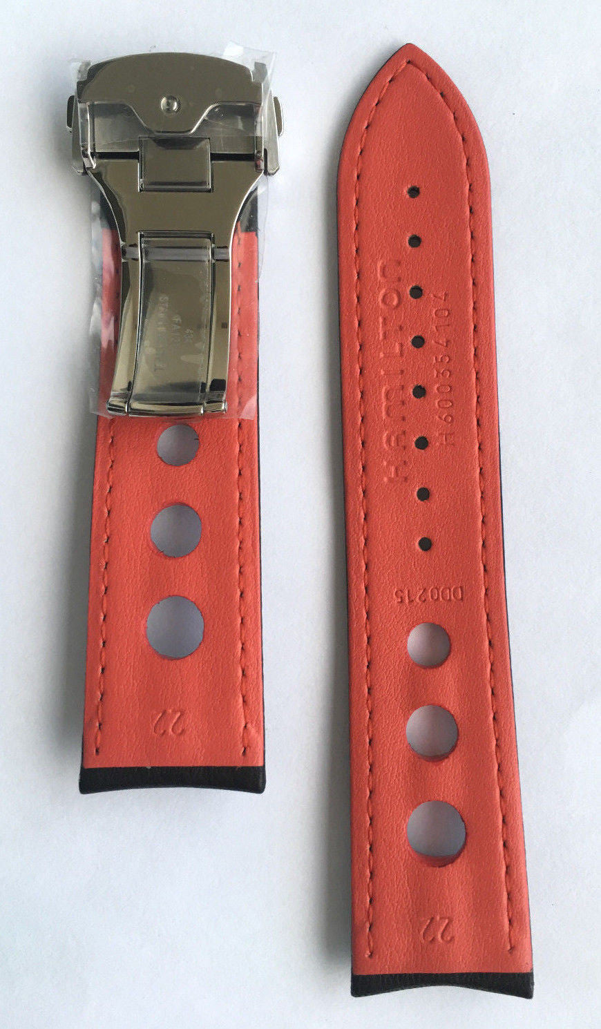 Hamilton Pan Europ Black Leather 22mm Strap Band for H35405741 or H35415781 - WATCHBAND EXPERT