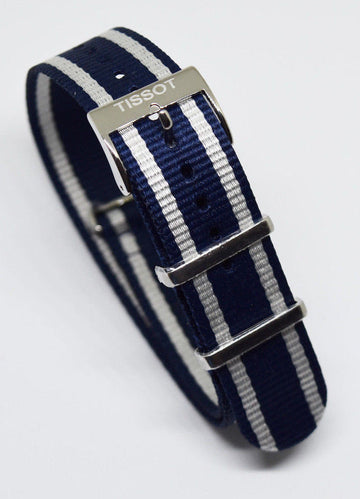 Tissot Quickster Nato Blue/ White Nylon Strap for T095410A or T095417A - WATCHBAND EXPERT