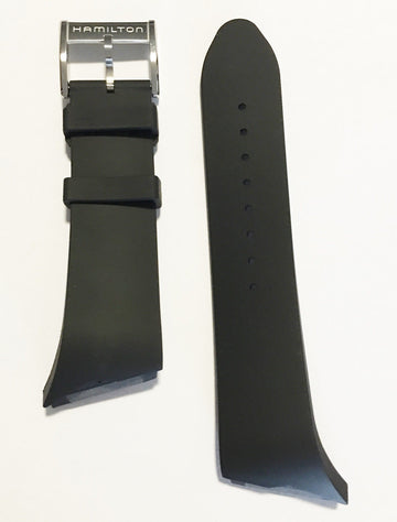 Hamilton XXL Ventura Black Rubber 23.5mm Band Strap for Watch H24655331 - WATCHBAND EXPERT
