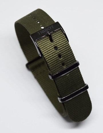 Tissot Quickster Nato Green Nylon Strap for T095410A or T095417A - WATCHBAND EXPERT