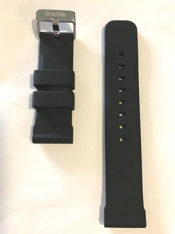 Bulova Marine Star 24mm Black Rubber Band Strap for 98B258 or 98B277 - WATCHBAND EXPERT