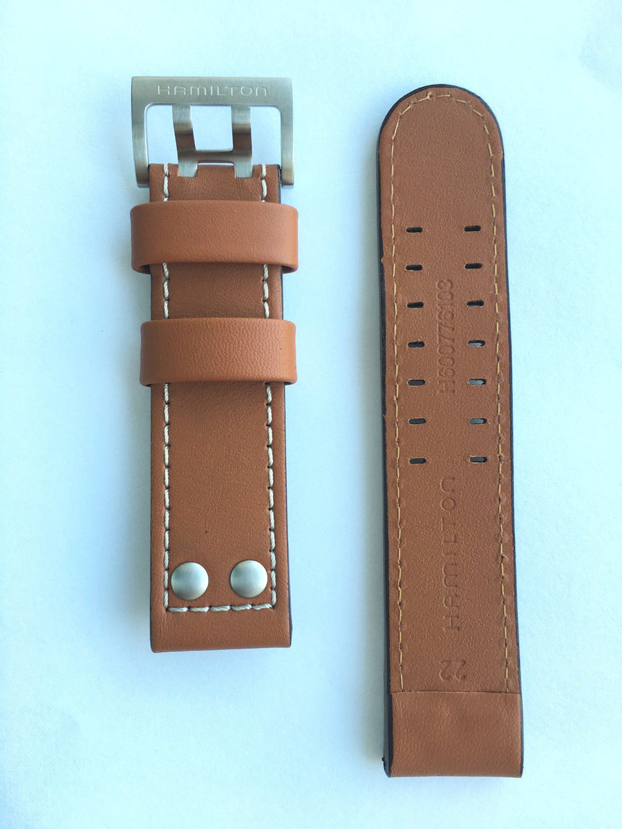 Hamilton Khaki X-Wind Brown Leather 22mm Strap Band for Watch H77616533 - WATCHBAND EXPERT