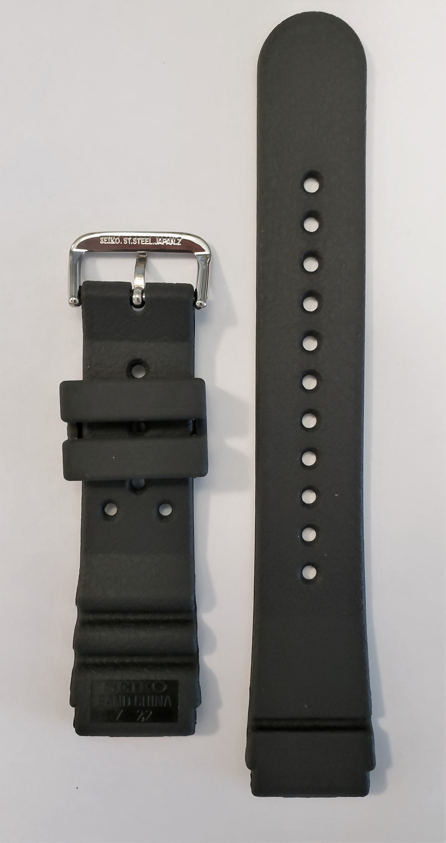 SEIKO Diver 22mm SKX173 Black Rubber Watch Band