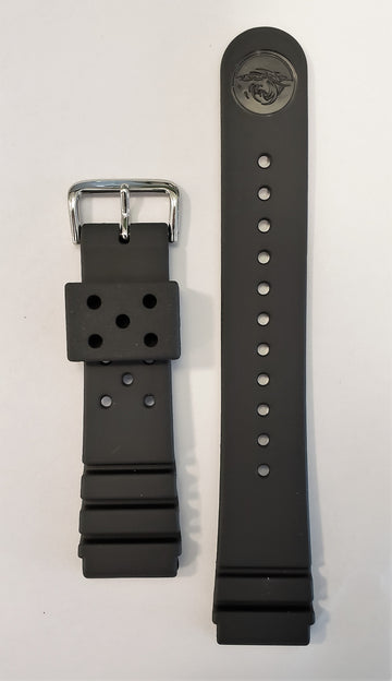 SEIKO Diver 22mm SKXA35 Black Rubber Watch Band - WATCHBAND EXPERT