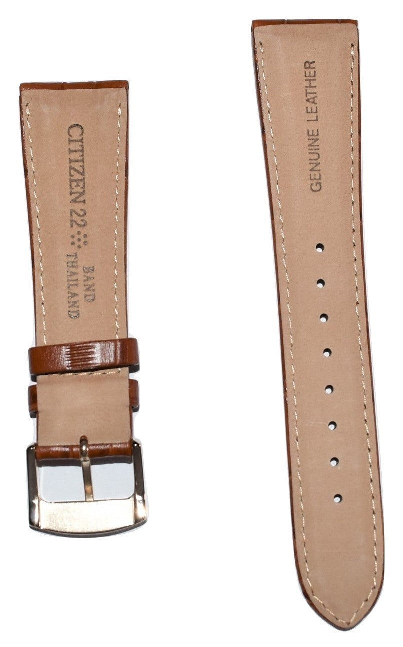 Citizen 22mm Brown Leather Band Strap For Watch Model AO9003-08E