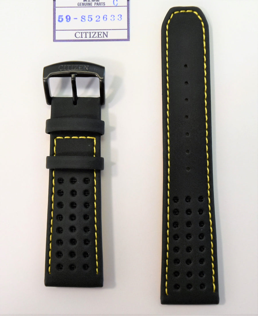Citizen Primo CA0467-38E Black Leather Strap Band with Yellow Stitches - WATCHBAND EXPERT