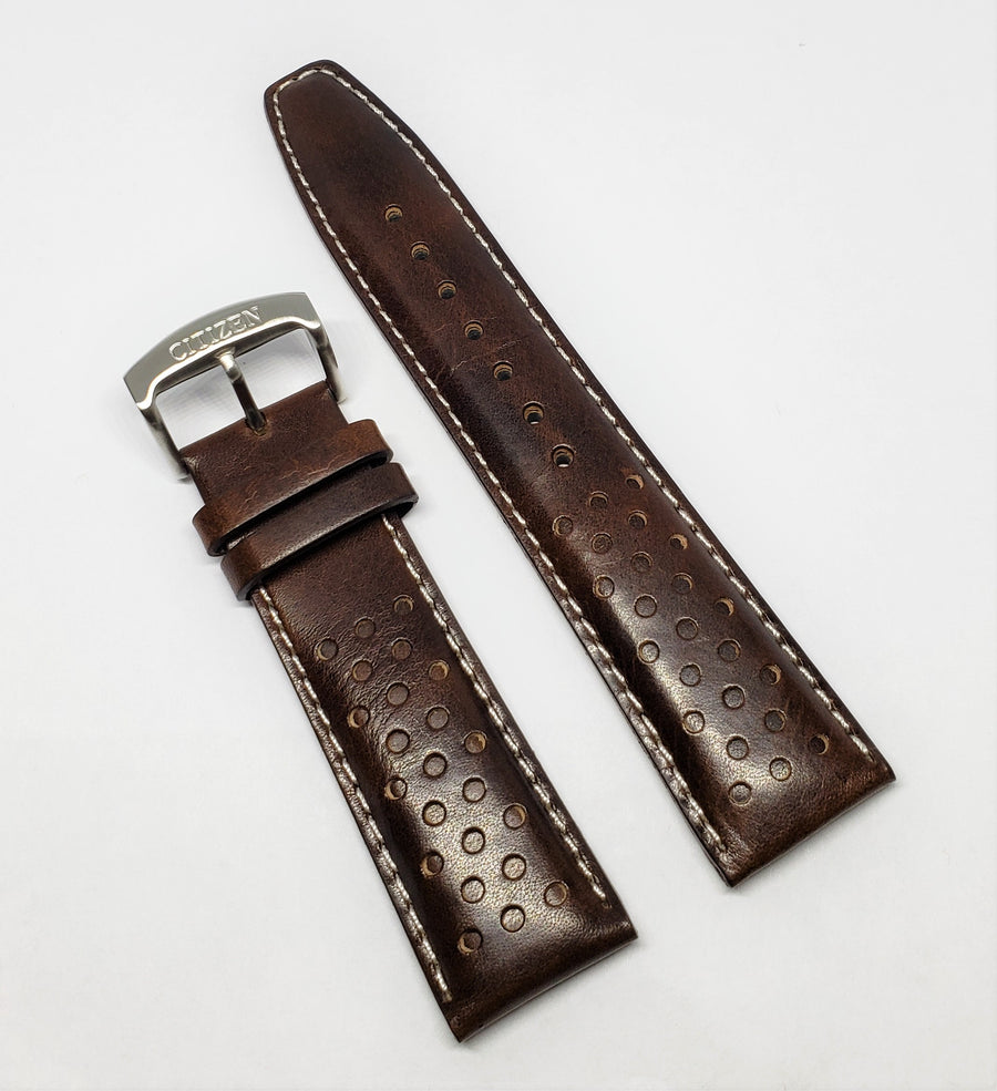 Citizen 22mm CA0648-09L Brown Leather Watch Band Strap - WATCHBAND EXPERT