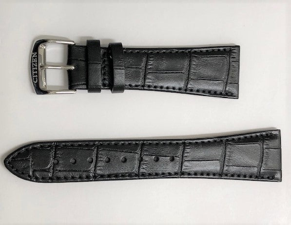 Citizen 24mm Black Leather Watch Band Strap BM6781-04A - WATCHBAND EXPERT