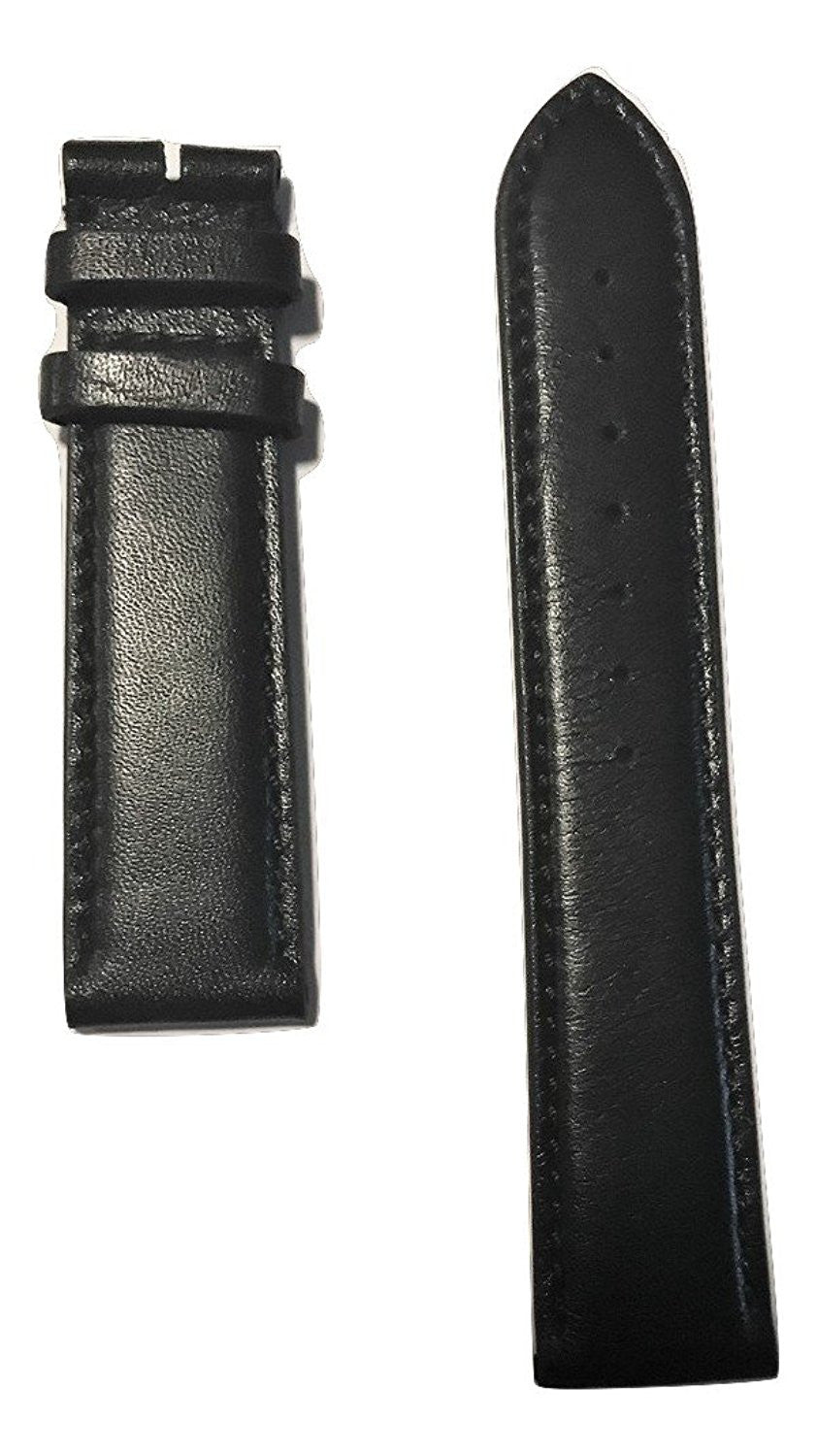 Movado Ultra Slim Men's 20mm 0607086 Black Leather Watch Band - WATCHBAND EXPERT