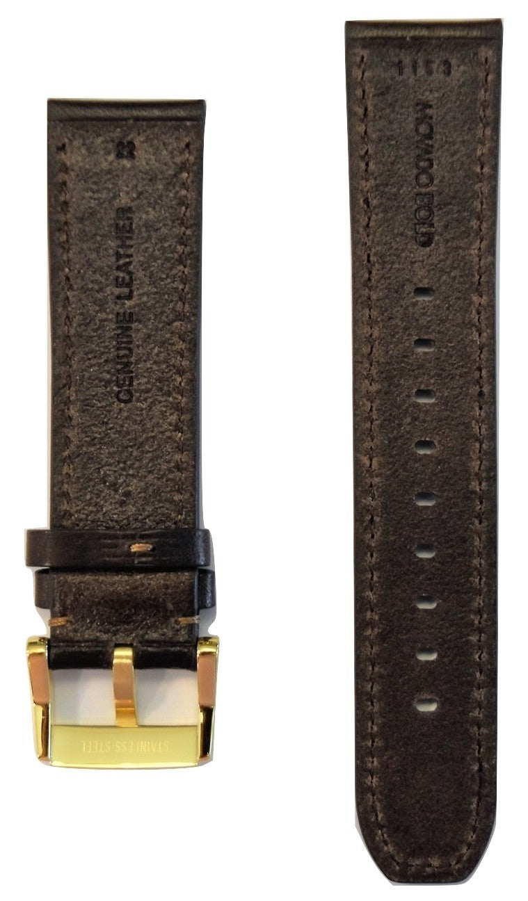 Movado BOLD 22mm Chocolate Brown Leather Band Strap with Buckle - WATCHBAND EXPERT