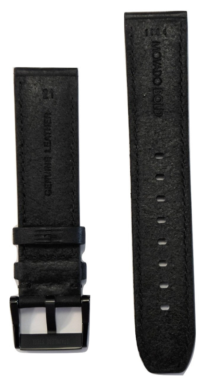 Movado BOLD 21mm Black Leather Watch Band Strap with Buckle
