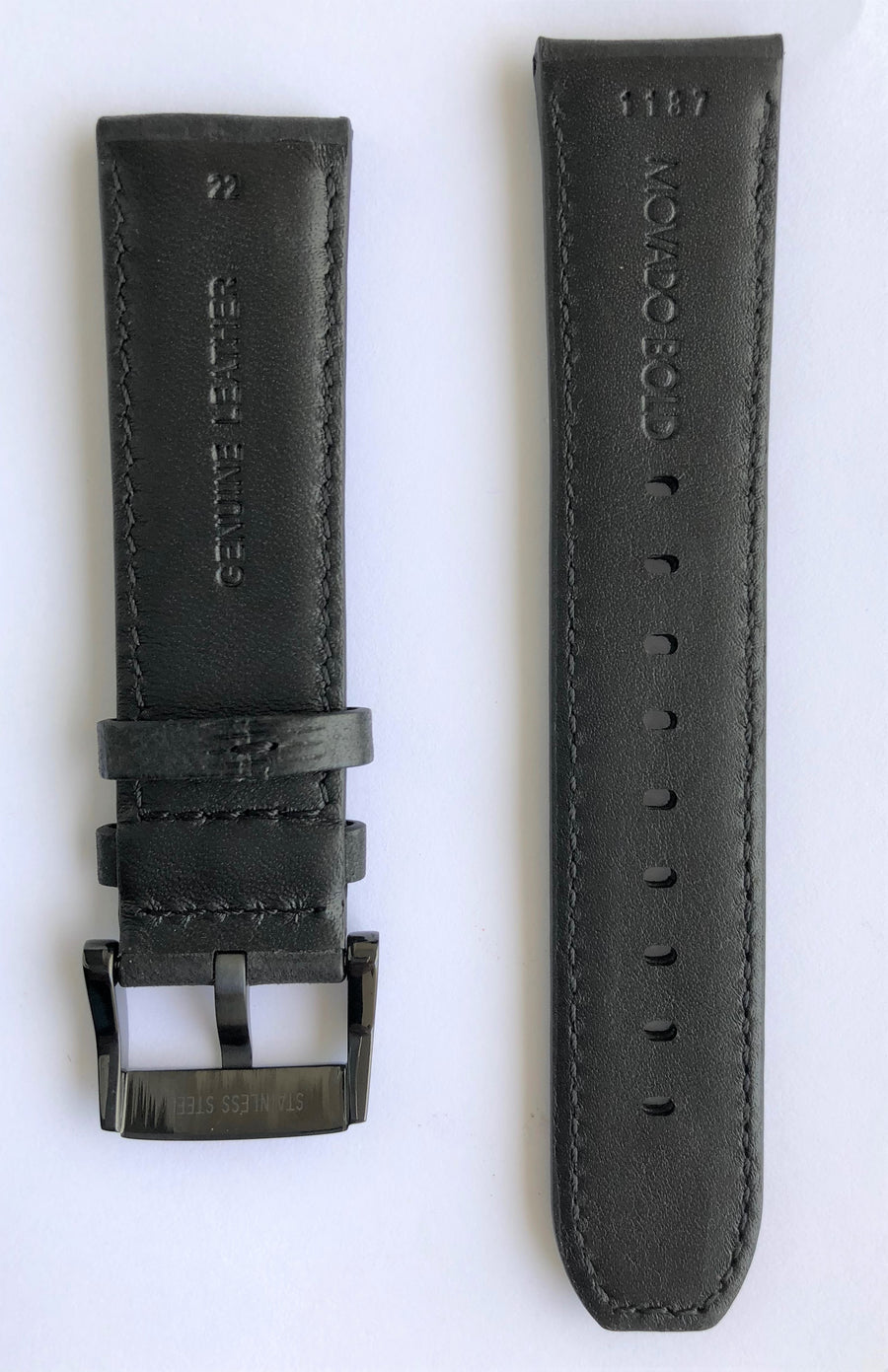 Movado BOLD MB-01-1-29-6003 Black Leather 22mm Watch Band
