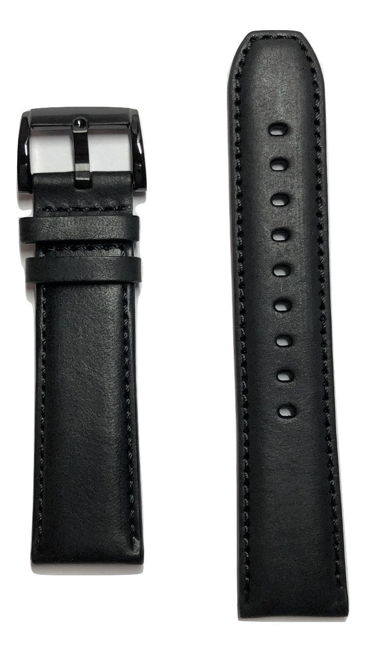 Movado BOLD MB-01-1-29-6011 Black Leather 22mm Watch Band - WATCHBAND EXPERT