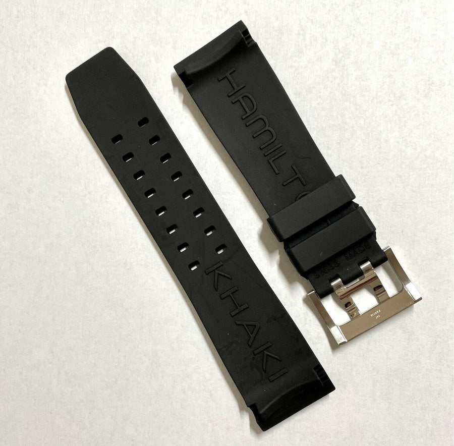 Hamilton BelowZero H786160 Black Rubber Watch Band Strap - WATCHBAND EXPERT